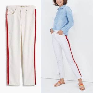 Madewell NWT White Jeans Red Stripe Straight Pant
